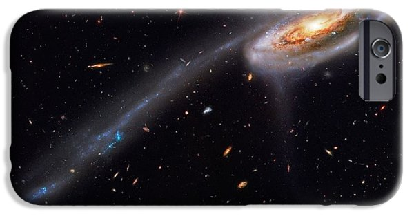 Galactic Paintings iPhone Cases - Interacting Galaxies iPhone Case by Celestial Images