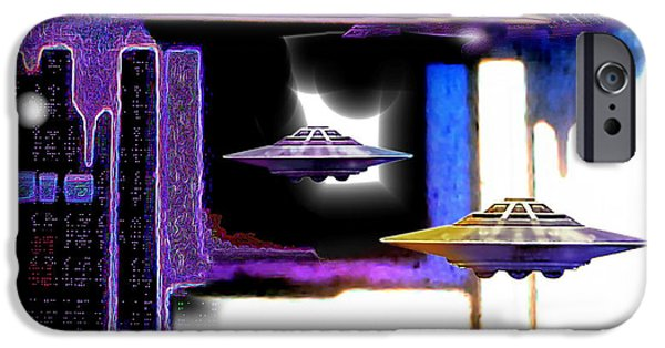 Intergalactic Space Paintings iPhone Cases - Interdimensional  Stargate iPhone Case by Hartmut Jager