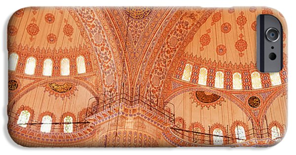 Mosaic iPhone Cases - Interior, Blue Mosque, Istanbul, Turkey iPhone Case by Panoramic Images