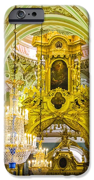 St John The Russian iPhone Cases - Interior - Cathedral of Saints Peter and Paul - St Petersburg Russia iPhone Case by Jon Berghoff