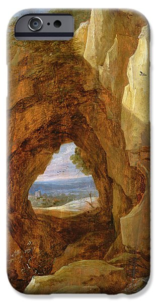 Cavern iPhone Cases - Interior Of A Cave Oil On Canvas iPhone Case by David the Younger Teniers