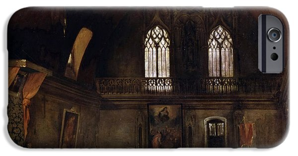 Delacroix iPhone Cases - Interior of a Dominican Convent in Madrid iPhone Case by Eugene Delacroix