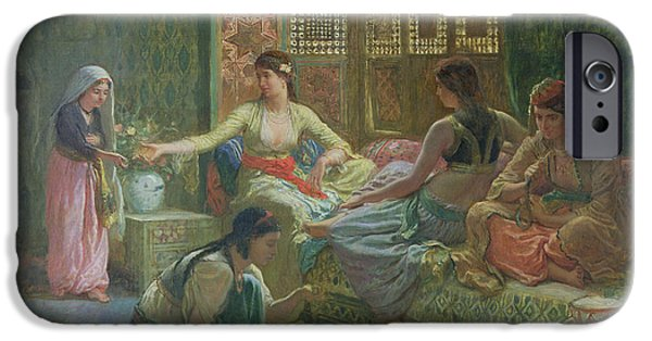 Hookah iPhone Cases - Interior Of A Harem, C.1865 Oil On Canvas iPhone Case by Leon-Auguste-Adolphe Belly