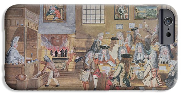 Coffee Drinking iPhone Cases - Interior Of A London Coffee House, C.1650-1750 Wc On Paper iPhone Case by English School