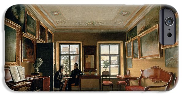 Piano iPhone Cases - Interior Of A Manor House, 1830s Oil On Canvas iPhone Case by Alexei Vasilievich Tyranov