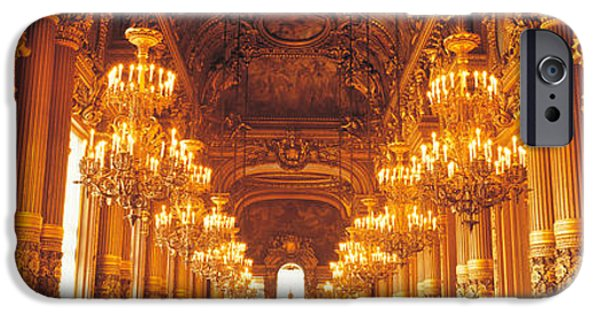Chandelier iPhone Cases - Interior Of A Palace, Chateau De iPhone Case by Panoramic Images