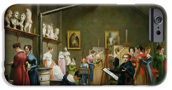 Model iPhone Cases - Interior Of Alexandre Denis Abel De Pujols 1787-1861 Studio Oil On Canvas iPhone Case by Adrienne-Marie Grandpierre-Deverzy