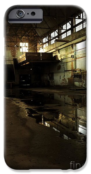 Floods Photographs iPhone Cases - Interior Of An Abandoned Factory iPhone Case by HD Connelly