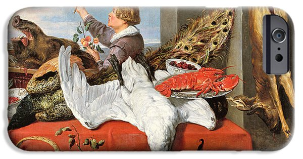 Fruit Basket iPhone Cases - Interior Of An Office, Or Still Life With Game, Poultry And Fruit, C.1635 Oil On Canvas iPhone Case by Frans Snyders or Snijders