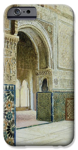 Color Drawings iPhone Cases - Interior Of The Alhambra  iPhone Case by French School