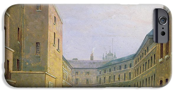 Yard iPhone Cases - Interior Of The Debtors Prison, Whitecross Street, 1830 Oil On Paper iPhone Case by English School