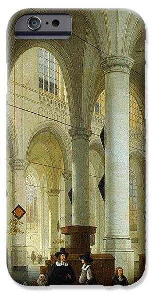 Holland Paintings iPhone Cases - Interior of the Oude Kerk in Delft iPhone Case by Hendrik Cornelisz van Vliet