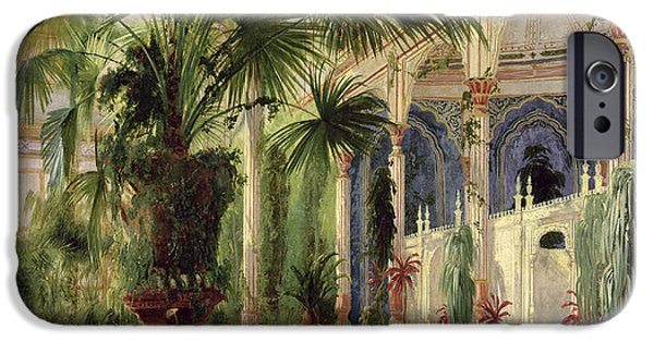 Figures iPhone Cases - Interior of the Palm House at Potsdam iPhone Case by Karl Blechen