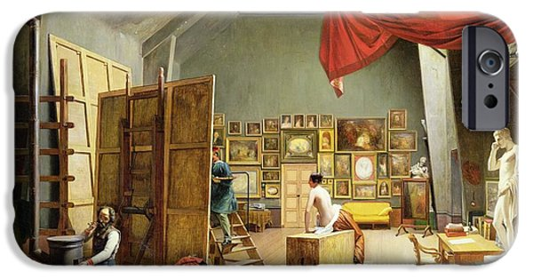 Model iPhone Cases - Interior Of The Studio Of Abel De Pujol 1787-1861 1836 Oil On Canvas iPhone Case by Adrienne-Marie Grandpierre-Deverzy