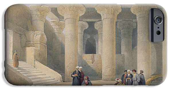 Ruin iPhone Cases - Interior Of The Temple At Esna, Upper Egypt, From Egypt And Nubia, Engraved By Louis Haghe iPhone Case by David Roberts