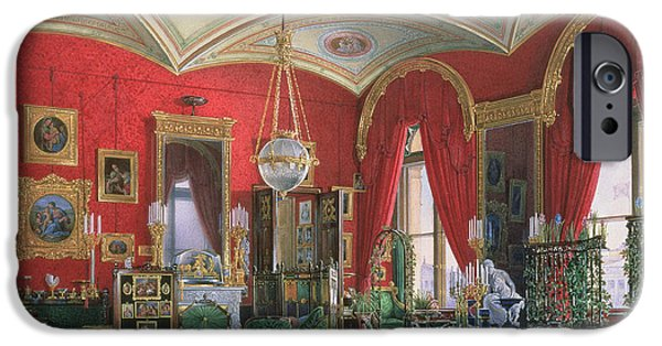 Palatial iPhone Cases - Interior Of The Winter Palace Wc On Paper iPhone Case by Eduard Hau
