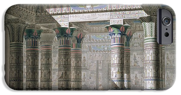Egypt iPhone Cases - Grand Temple on the Island of Philae iPhone Case by Antoine Phelippeaux