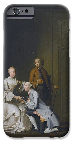 Interior Scene iPhone Cases - Interior Scene With A Lady And Two Suitors iPhone Case by Jacobus Buys