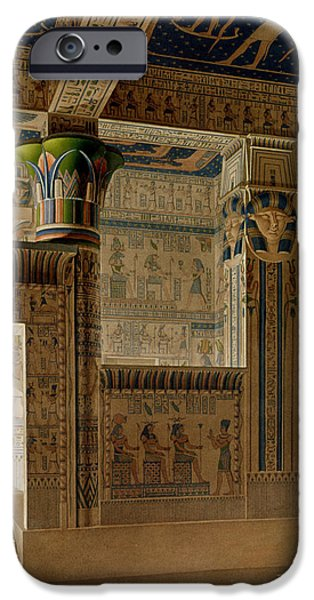 Thebes iPhone Cases - Interior View Of The West Temple iPhone Case by Le Pere
