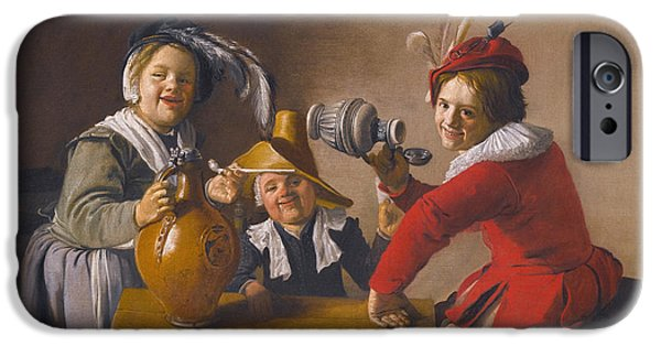 Mischief iPhone Cases - Interior with Children drinking and Mischief-making iPhone Case by Jan Miense Molenaer