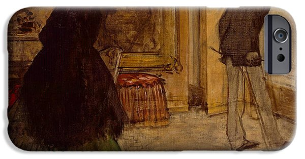 Furniture iPhone Cases - Interior with Two Figures iPhone Case by Edgar Degas