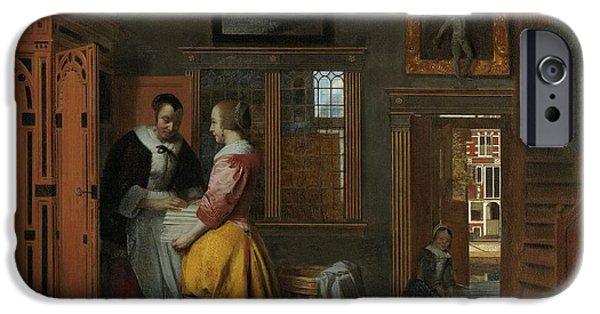 Domestic Scene iPhone Cases - Interior with Women Inside a Linen Cupboard iPhone Case by Pieter de Hooch