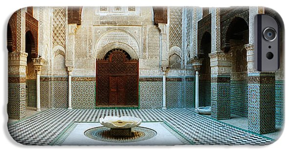 Fez iPhone Cases - Interiors Of A Medersa, Medersa Bou iPhone Case by Panoramic Images