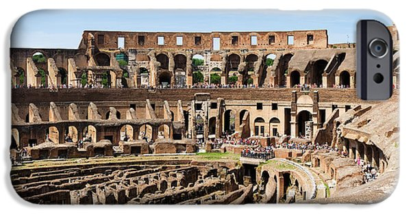 Interior Scene iPhone Cases - Interiors Of An Amphitheater, Coliseum iPhone Case by Panoramic Images