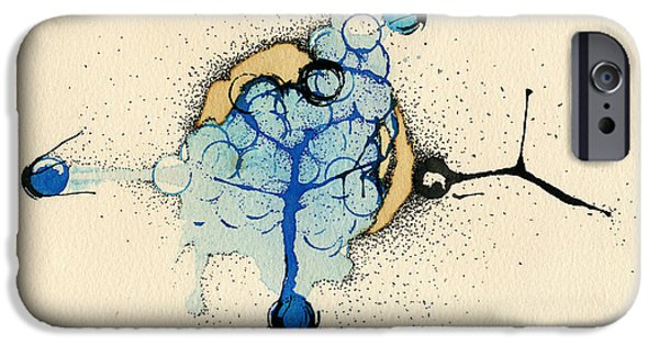Blue Abstracts iPhone Cases - Internal Landscape Nine iPhone Case by Mark M  Mellon