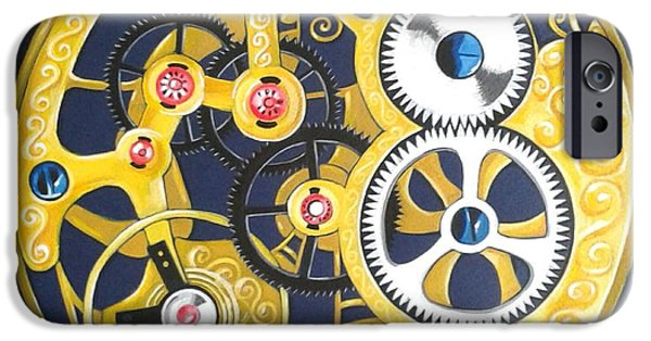 Mechanism Paintings iPhone Cases - Internal Mechanisms iPhone Case by Nina Shilling