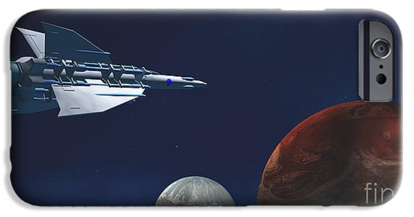 Jet Star Digital Art iPhone Cases - Interplanetary Travel iPhone Case by Corey Ford