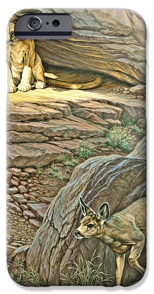 Canyons Paintings iPhone Cases - Interruption-Cougar and Fawn iPhone Case by Paul Krapf