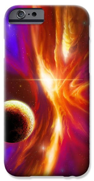 Star System Paintings iPhone Cases - Intersteller Supernova iPhone Case by James Christopher Hill