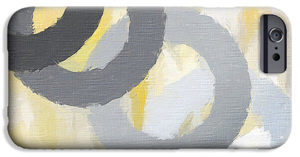 Yellow And Grey Abstract Art iPhone Cases - Intertwine iPhone Case by Lourry Legarde