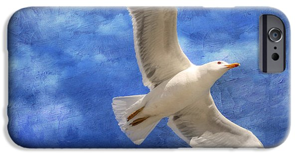 Flying Seagull iPhone Cases - Into the Blue iPhone Case by Donna Kennedy