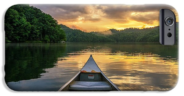 Canoe iPhone Cases - Into the calm iPhone Case by Anthony Heflin