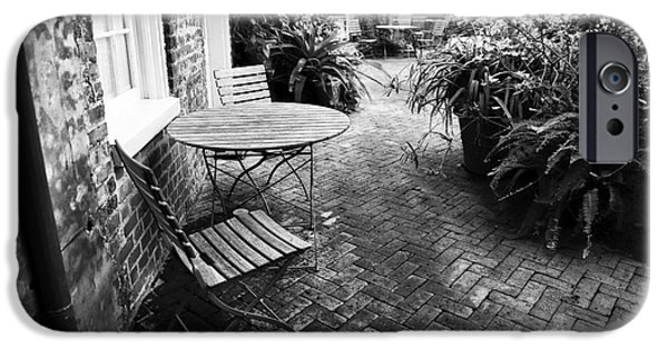 Patio Table And Chairs iPhone Cases - Into the Courtyard iPhone Case by John Rizzuto