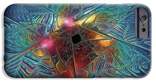 Generative Digital Art iPhone Cases - INto The Galaxy iPhone Case by Deborah Benoit