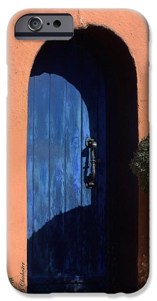 Las Cruces Digital Art iPhone Cases - Into the Shadows of the Blue Door iPhone Case by Barbara Chichester