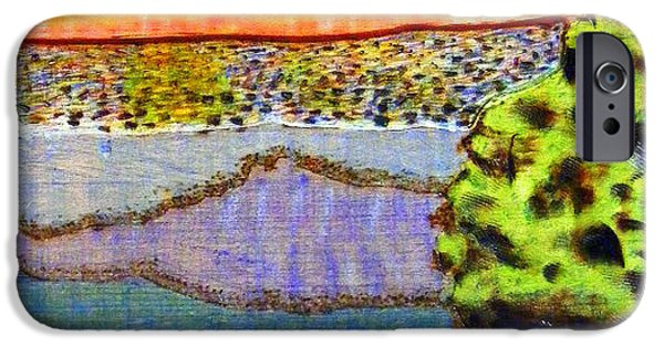 Multimedia Pyrography iPhone Cases - Into the Sparkling Sunset iPhone Case by D Joseph Aho