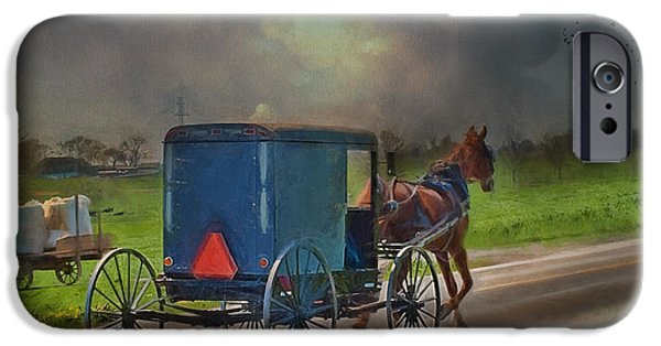 Horse And Buggy Photographs iPhone Cases - Into The Storm iPhone Case by Kathy Jennings
