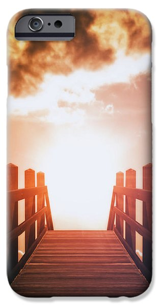 Pathway iPhone Cases - Into The Sun iPhone Case by Wim Lanclus