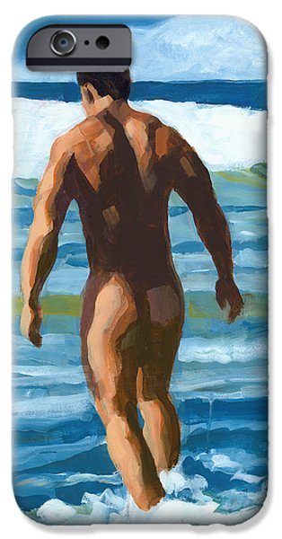 Muscle Paintings iPhone Cases - Into the Surf iPhone Case by Douglas Simonson