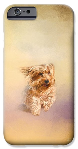 Yorkshire Terrier Art iPhone Cases - Into The Wind iPhone Case by Jai Johnson