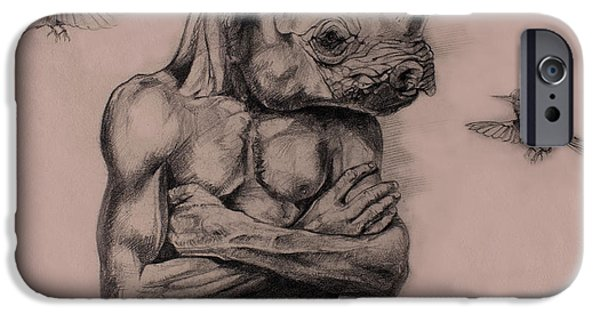 African Animal Drawings iPhone Cases - Intransigent iPhone Case by Derrick Higgins