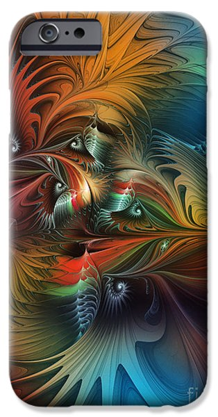 Poetic iPhone Cases - Intricate Life Paths-Abstract Art iPhone Case by Karin Kuhlmann