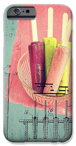 Montage Drawings iPhone Cases - Invention of the Ice Pop iPhone Case by Edward Fielding