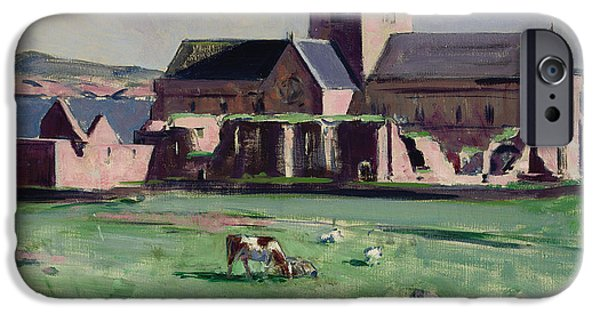Buildings By The Ocean iPhone Cases - Iona Abbey from the northwest iPhone Case by Francis Campbell Boileau Cadell