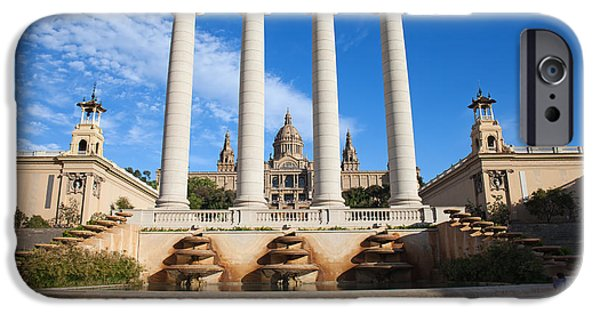 National Building Museum iPhone Cases - Ionic Columns and National Art Museum of Catalonia iPhone Case by Artur Bogacki