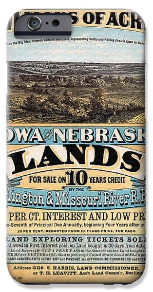 Nebraska iPhone Cases - Iowa and Nebraska Lands - 1872 iPhone Case by Mountain Dreams